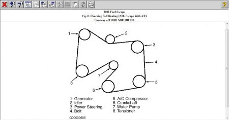 2001 ford escape belt routing for drive belt rh 2carpros com 2001 ford escape wiring diagrams 2001 ford escape engine diagram