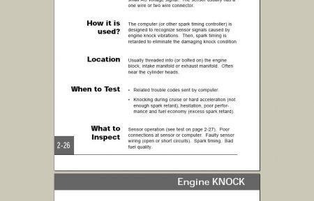 Knock Sensor Driveability Problems