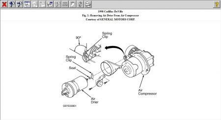 1998 Cadillac Deville LOCATION OF THE AIR RIDE COMPRESSOR
