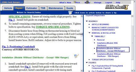 Dist on 1988 Ford Ranger 2 3 Timing Marks