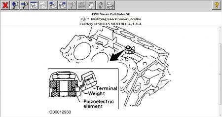 1998 Nissan Pathfinder Knock Sensor: Procedure for Replacing