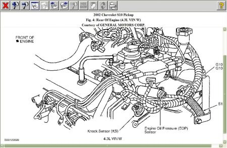 2002 chevy 4.3 knock sensor location