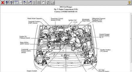 2001 ford ranger oil pressure sending unit engine mechanical on right rear of engine see below