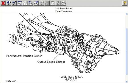 Dodge Dakota 1999 Dodge Dakota Location Of Transmission Output Sensor