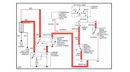 12900_starter_circuit_7 1992 ford tempo solenoid electrical problem 1992 ford tempo 4 cyl Ford Ignition Wiring Diagram at bayanpartner.co