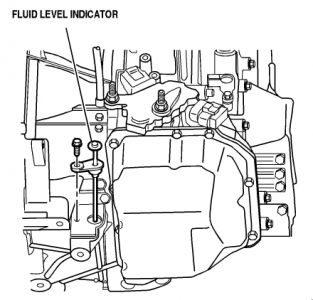 Remove the fluid level indicator located behind the front transaxle ...