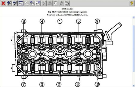 2004 KIA Rio Head Specs The Timing Belt Broke And I Had To. 2carpros Automotive S12900tighteningsequence1. KIA. 2005 KIA Rio Engine Diagram Of A Head Gasket At Scoala.co