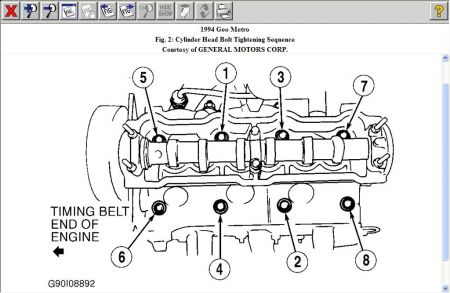 1994 geo metro head torque sequnce engine mechanical problem 1994 tighten it 54ft lbs