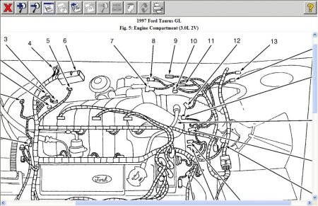 97 taurus engine diagram example electrical wiring diagram \u2022 97 grand marquis wiring diagram 1997 ford taurus sensor can you send me a diagram of where the rh 2carpros com taurus fuse box diagram 1996 ford taurus parts diagram