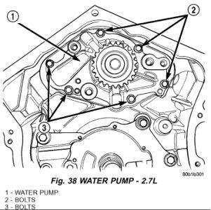 chrysler sebring leak and repair engine cooling problem  water pump removal 2 7l