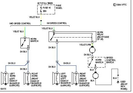 http://www 2carpros com/forum/automotive_pictures/170934_ford_horn_wiring_2   see diagram below
