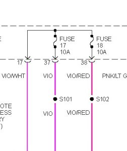 2000 dodge neon only high beams work electrical problem 2000 in the diagram the violet wires under the fuses are voltage for low bean right and left use a voltage tester on the fuse circuits headlamps on dim