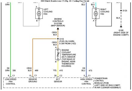 192750_CoolingFan03RendezvousFig10b_1 2003 buick rendezvous high speed cooling fan engine mechanical 97 Plymouth Voyager Radiator Fan Wiring Diagram at gsmx.co
