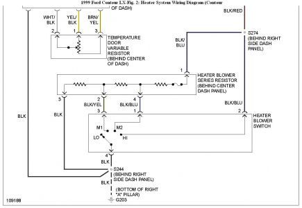192750_HeaterWiringContour99Fig02b_1 1999 ford contour blower fuse defrost setting heater problem 12 volt car blower motor wiring diagram at alyssarenee.co