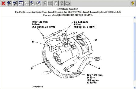 Honda Legend 3 2 1995 Specs And Images additionally T6519076 Having trouble accessing top bolt furthermore 2275h Replacing Starter 2002 Honda Accord Lx 4cyl furthermore Honda Accord 2003 Honda Accord Starter besides 93 Accord Fuel Filter Location. on 2009 honda civic starter removal