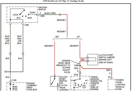 192750_StartingCircuit98EscortZx2Fig32a_1 1998 ford escort intermittent starting 1998 escort zx2 1999 ford escort zx2 wiring diagram at sewacar.co