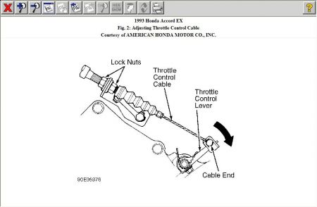 1996 honda accord not smooth changing gear transmission problem the throttle cable is connected from the throttle body to the transmission at front near the lower radiator hose adjusting is via the nuts as shown in the