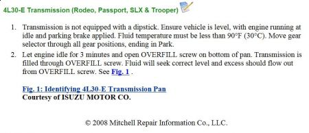 1997 Honda Passport Transmission Dipstick Transmission