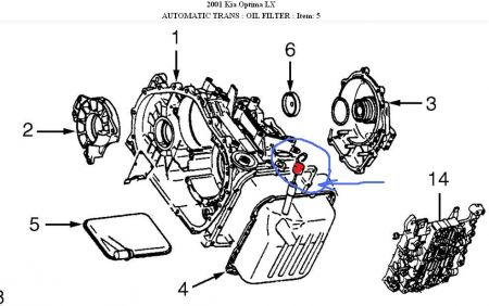 Kia Spectra Power Steering Fluid Filter on thermostat parts diagram