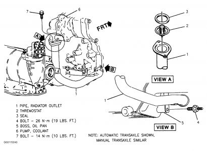 pontiac grand am changing the thermostat engine cooling need to remove pipe from lower block see diagram