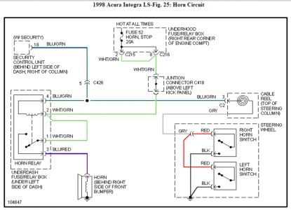 acura integra horn wiring diagram acura wiring diagrams i had to go to the wiring diagram and it states it is located behind the right side of the front 1997 acura integra