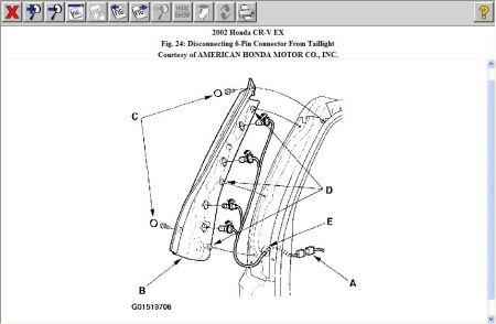 2003 Honda Crv Left Rear Tail Light Assembly