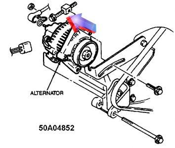1989 ford probe alternator belt engine mechanical problem 1989 you need to loosen up the adjuster pull off and replace the belt tight back up aon the adjuster
