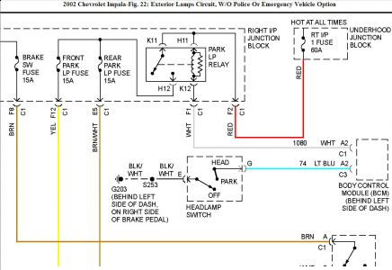 2002 chevy impala park lights electrical problem 2002 chevy by looks of the wiring diagram i would first suspect the relay the switch would be my next suspicion