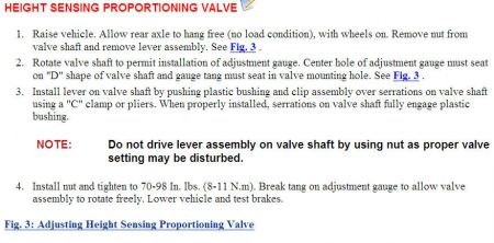 height sensing proportioning valve adjustment