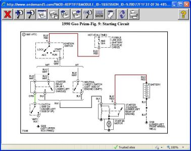 Geo Prism Starter Wire Diagram on geo prizm engine diagram