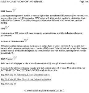 1993 Saturn SL1 Check Engine Light Codes: Hi, I Have a 93
