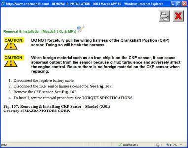 2003 mazda mpv crankshaft position sensor computer problem 2003