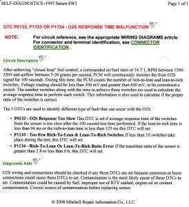 1997 Saturn SC2 Trouble Codes PO133 & PO141