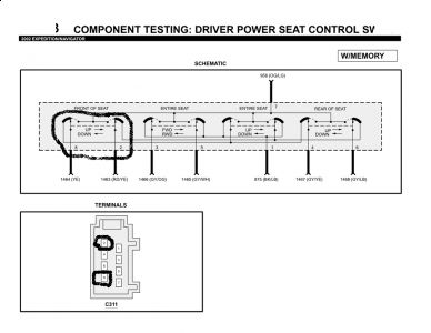 2002 ford excursion power seats electrical problem 2002 ford switch and it is acting erratically the problem must be in the switch remove the switch check terminals 8 and 2 for continuity sending the diagram