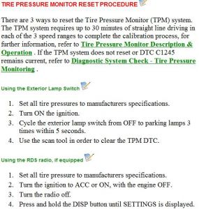 2004 chevy impala low tire pressure light reset