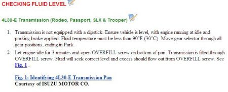 1997 isuzu trooper: how to check transmission fluid level and i