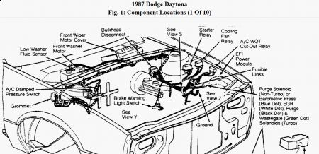 Dodge Daytona 1987 Dodge Daytona Fuel Pump Relay on horn wiring