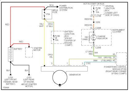 62217_Charging_Circuit_1 2002 ford taurus alternator drops out electrical problem 2002 ford 6g alternator wiring diagram at creativeand.co