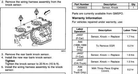 2002 Chevy Silverado Knock Sensors: Engine Lite Comes on