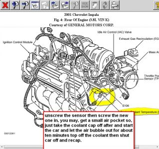 2001 chevy impala coolant sensor engine cooling problem 2001 2carpros com forum automotive pictures 88091 ect 1
