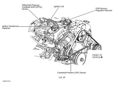 2002 ford taurus egr pressure sensor location  engine