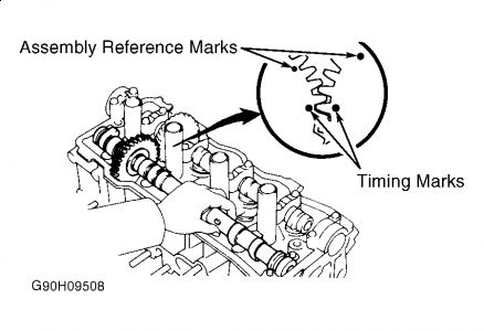 camshaft timing marks on intake and exhaust rh 2carpros com 1997 toyota camry timing marks diagram toyota 5l timing marks diagram
