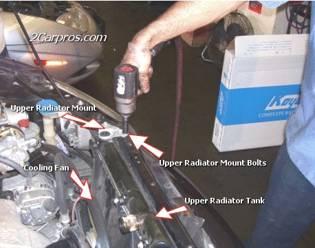 Locate and Remove Upper Radiator Mount Brakets