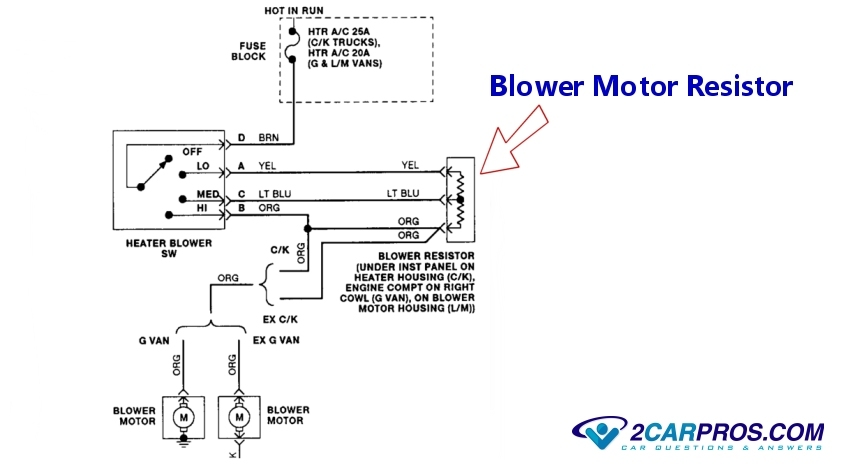 Blower Fan Motor Works On High Speed Only on 1987 ranger wiring diagram