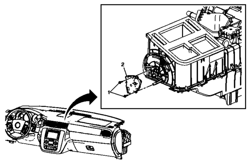Mode Blend Door Actuator Location on 2010 Gmc Terrain Parts Diagram
