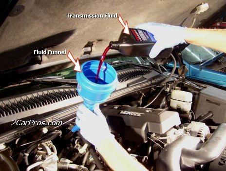 Adding Transmission Fluid Using a Funnel