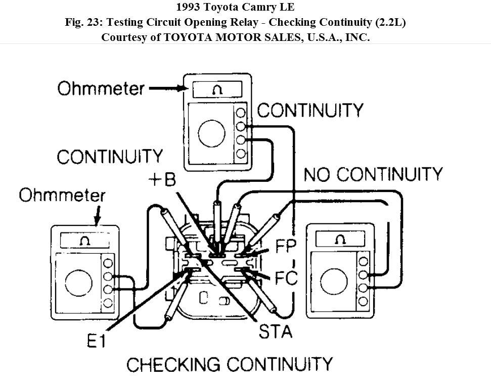 short efi relay circuit i bought a 1993 camry 2 2l recently i rh 2carpros com Check Circuit Technologies Circuit Breaker Finder
