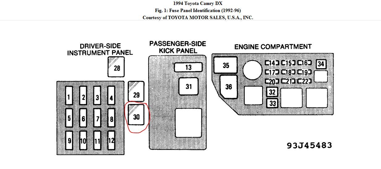1994 Camry Fuse Box - Wiring Diagram