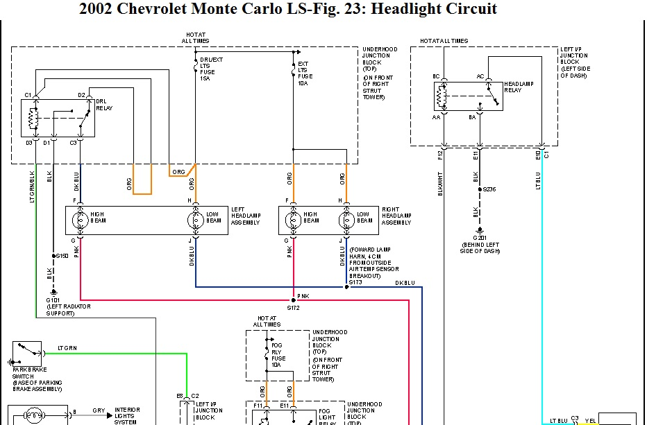2001 Chevy Monte Carlo Headlamp Relay  Electrical Problem