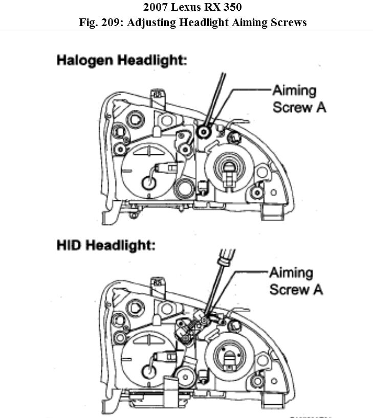 headlamp how to adjust the headlamps on my rx350 lexus 2007 rh 2carpros com